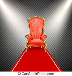 trono, realistico, vettore, sedia, moquette rossa