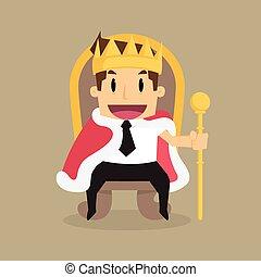 trono, rey, como, sentado, exitoso, hombre de negocios