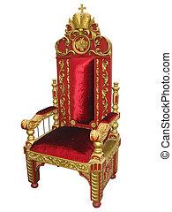 trono, rey, dorado, real, aislado, silla, rojo