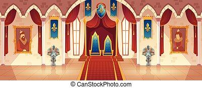 trono, salone, sala ballo, reale, vettore, interno, castello