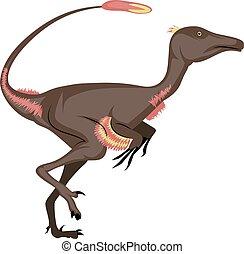 Troodon, illustration, vector on white background.