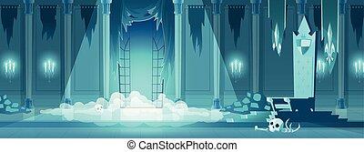 troon, koning, kamer, kwaad, vector, kasteel, spotprent