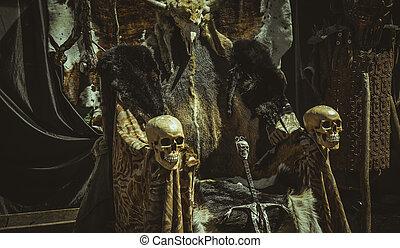 troon, van, bont, en, schedels, met, een, viking, sword., stoel, met, dier, huiden