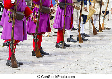 Troop of soldiers in training during the re-enactment of the War