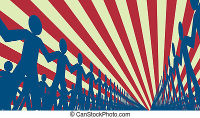 Troops - Editable vector design of lines of papermen