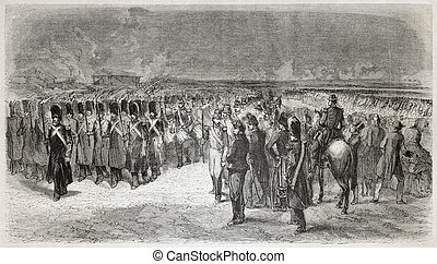 Old illustration of troops of French army. By unidentified author, published on L'Illustration, Journal Universel, Paris, 1857