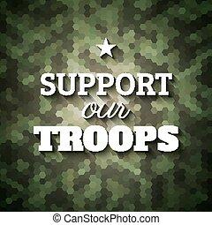troops., slogan, affiche, soutien, camouflage, fond, vecteur...
