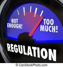 trop, ou, pas assez, règlement, jauge, mesurer, règles,...