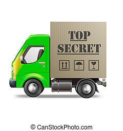 trop secret shipment - top secret shipment in cardboard box...