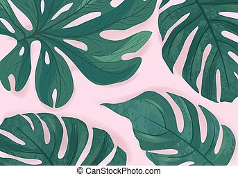 Tropcal palm leaves beautiful background. Summer nature floral wallpaper.