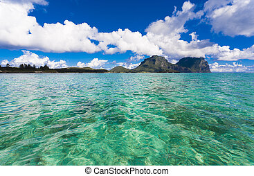 Tropcial Island Paradise - ocean and mountains on tropical...
