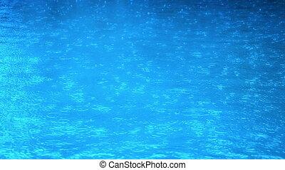 tropfen, in, regen, teich, zeitlupe