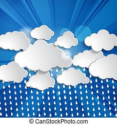 tropfen, sonne- strahlen, wolkenhimmel, regen