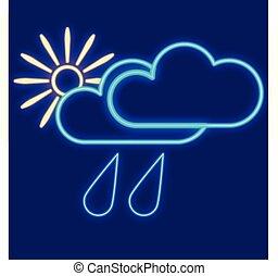 tropfen, sonne, weather., wolkenhimmel, regen