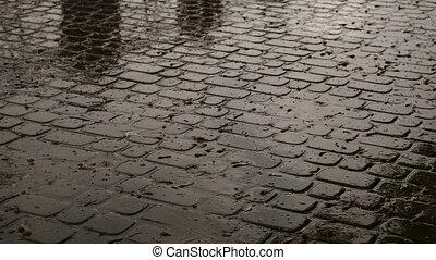 tropfen, von, regenfall, in, a, pfütze