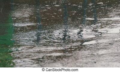 tropfen, von, regenfall, zu, der, bürgersteig, formung, a, pfütze