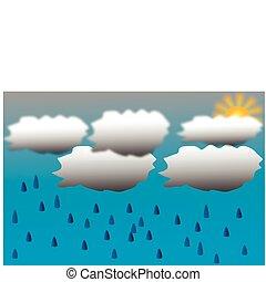 tropfen, wolkenhimmel, hintergrund, regen