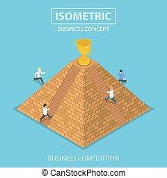 trophäe, isometrisch, pyramide, bekommen, oberseite, gewinner, geschäftsmann, schwierig