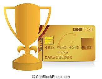 trophäe, kreditkarte, abbildung, becher