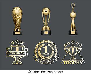 trophäe, satz, gold, ort, 1., tassen, medaillen