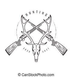 trophäe, totenschädel, hörner, emblem, gewehre, gekreuzt, gewehre, weinlese, hirsch, jã¤ger, vektor, jagen