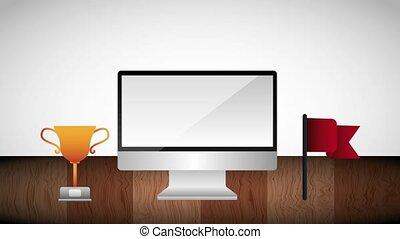 trophée, écran, idée, haut, début, drapeau, informatique, ampoule