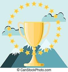 trophée, élevé, montagne, concept affaires, pic