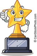 trophée, étoile, caractère, haut, forme, pouces