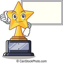 trophée, étoile, caractère, haut, tiroir, planche, dessin animé, pouces