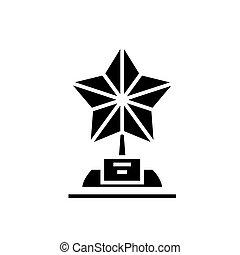 trophée, étoile, illustration, isolé, signe, vecteur, arrière-plan noir, icône