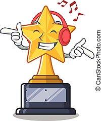 trophée, étoile, isolé, musique écouter, dessin animé