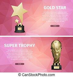 trophée, étoile, or, réaliste, illustrations, super
