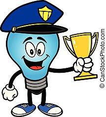 trophée, ampoule, police