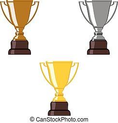 trophée, argent, bronze, cup., or
