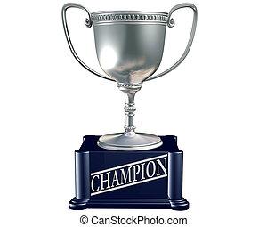 trophée, argent, champion