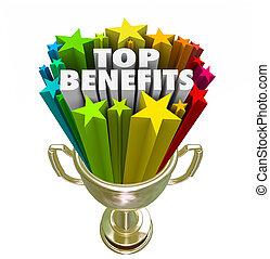 trophée, avantages, or, bonification, sommet, frange, récompense, compensation, mieux