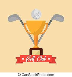 trophée, balle, club golf, croix, clubs, bannière