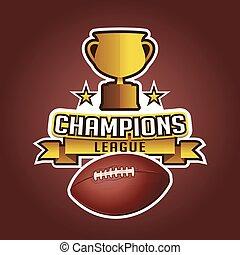 trophée, balle, tasse, football, américain, rubans