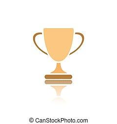 trophée, blanc, reflet, fond, icône