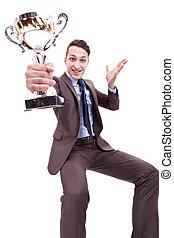 trophée, business, jeune, enjôleur, homme, excité, gentil