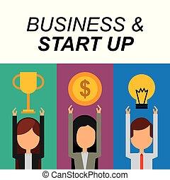 trophée, business, reussite, businesspeople, argent, idée, haut, début, ampoule
