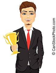 trophée, business, tasse or, gagnant, tenue, homme