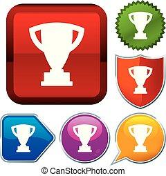 trophée, buttons., série, ensemble, brillant, icône