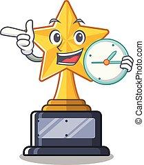 trophée, caractère, forme, étoile, horloge