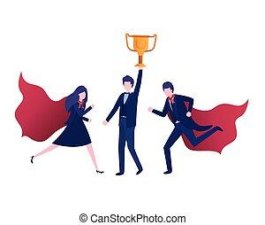 trophée, caractère, groupe, avatar, business