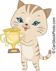 trophée, chat