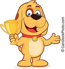 trophée, chien, avoirs entourent
