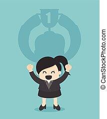 trophée, concept, business, tasse, mur, femme affaires, ombre
