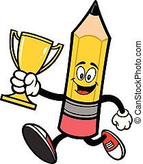 trophée, crayon, courant