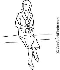 trophée, croquis, business, femme affaires, concept., lignes, isolé, illustration, main, arrière-plan., vecteur, noir, tenue, griffonnage, dessiné, blanc